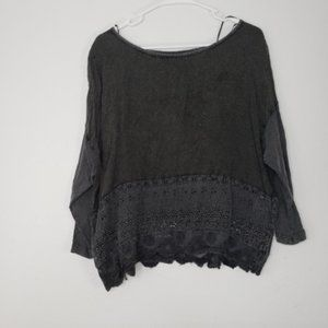 Ecote Boatneck Lace Black Blouse